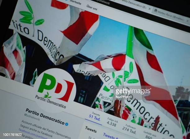 The twitter profile of Partito Democratico is seen on a screen.