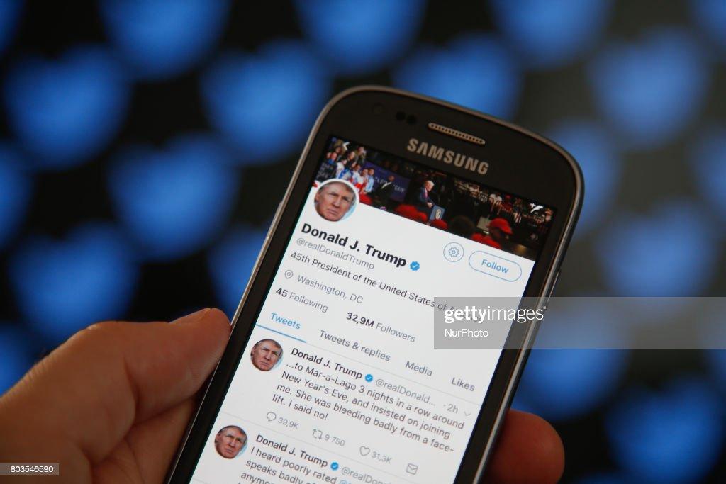 Social Media Illustrations and Donald Trump tweets : News Photo
