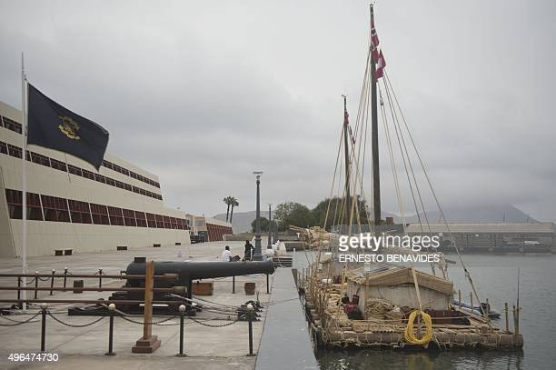 The two 23ton rafts made mostly of balsa wood prepare to depart the Peruvian Navy at the port of Callao 15 km west of Lima on November 7 2015 After a...