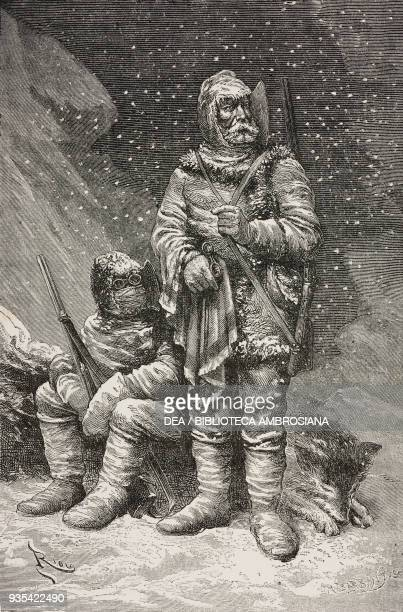 The two Austrians officers Carl Weyprecht and Julius von Payer during their AustroHungarian North Pole Expedition in 1874 illustration by Edouard...