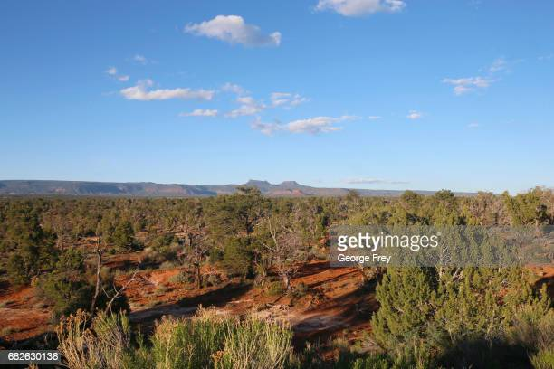 BLANDING UT MAY 11 The two bluffs known as the 'Bears Ears' stand off in the distance at sunset in the Bears Ears National Monument on May 11 2017...