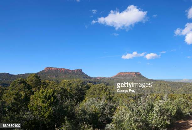 BLANDING UT MAY 11 The two bluffs known as the 'Bears Ears' stand off in the distance in the Bears Ears National Monument on May 11 2017 outside...