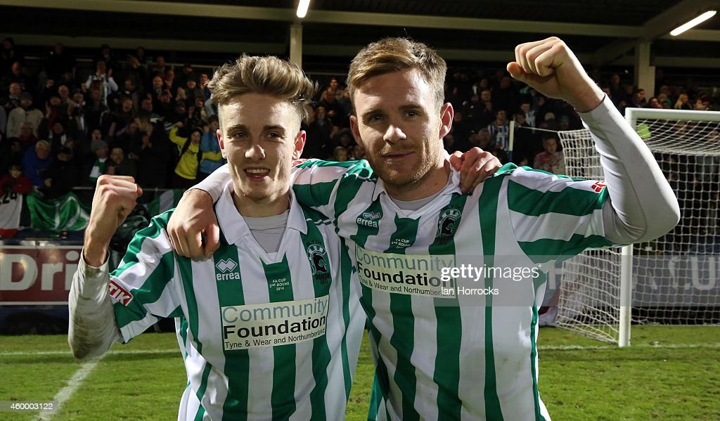 The two Blyth goalscorers Jarrett Rivers (L) and Stephen Turnball during the FA Cup second round match between Hartlepool United and Blyth Spartans at Victoria Park on December 05, 2014 in Hartlepool, England.