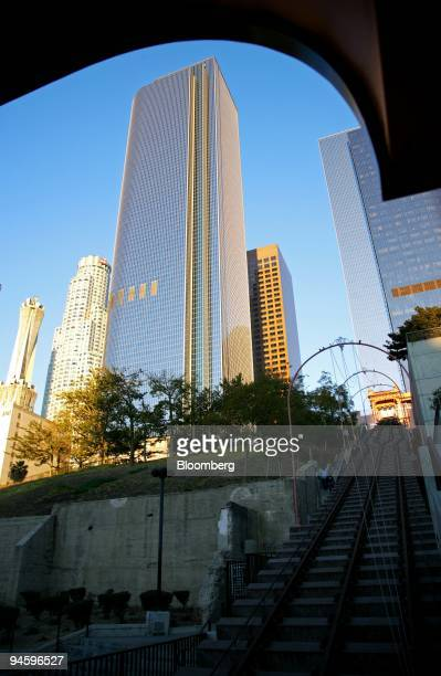 The Two California Plaza high-rise building, owned by Equity Office Properties Trust, rises 750 feet from from Bunker Hill in downtown Los Angeles,...