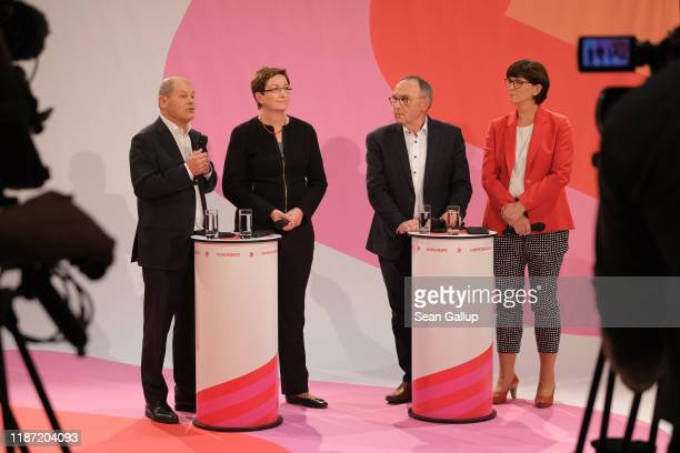 The two candidate pairs for the leadership of the German Social Democrats , from L to R: Olaf Scholz and Klara Geywitz, and Norbert Walter-Borjans...