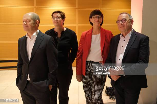 The two candidate pairs for the leadership of the German Social Democrats , from L to R: Olaf Scholz and Klara Geywitz, and Saskia Esken and Norbert...