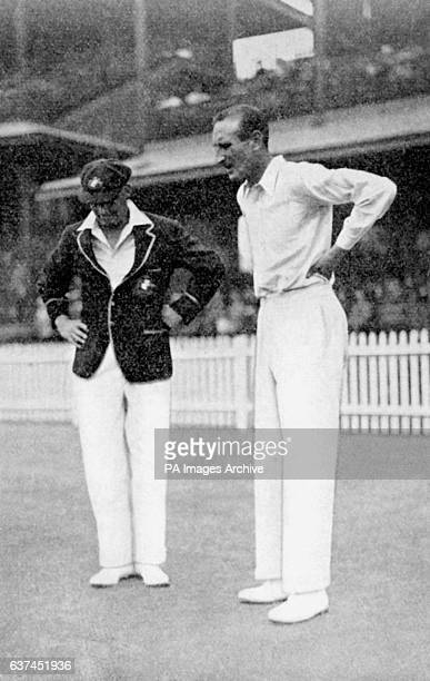 The two captains, Australia's Bill Woodfull and England's Douglas Jardine , at the coin toss, which Woodfull won