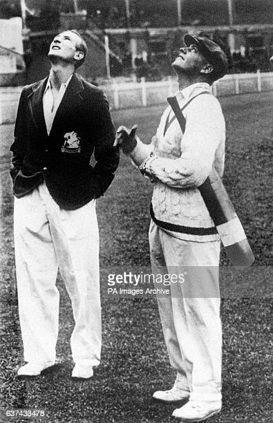 The two captains, England's Douglas Jardine and Australia's Bill Woodfull , at the coin toss