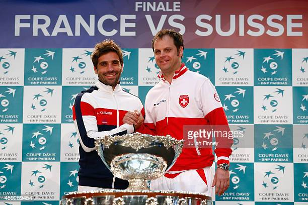 The two captains Severin Luthi of Switzerland and Arnaud Clement of France at the draw during previews for the Davis Cup Tennis Final between France...