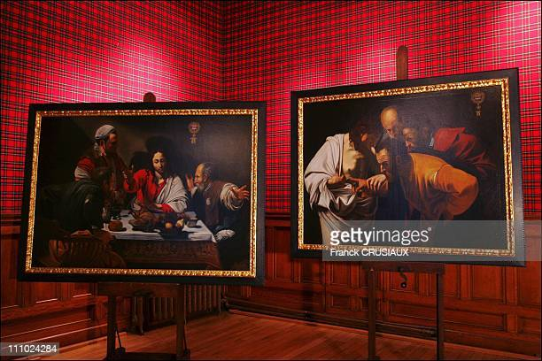 The two Caravaggio paintings ÔPilgrimage of our Lord to Emmaus' and ÔSaintThomas putting his finger on Christ's wound' in Loches France on January...