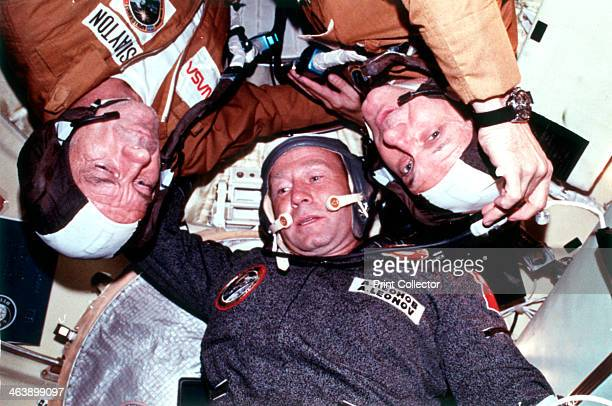 The two crews of the joint US/USSR ASTP docking in Earth orbit mission CREDIT NASA