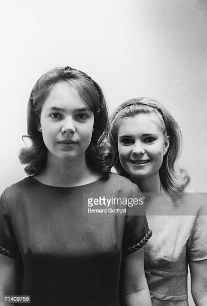 The two daughters of former Vice President Richard Nixon Julie and Tricia pose for a portrait New York 1966 The Nixons lived in New York from shortly...