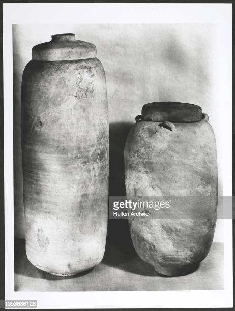 The two earthenware jars in which the Dead Sea Scrolls were found The 2000 year old scroll from Book of Isaiah A 2000 year old Jewish scroll an...