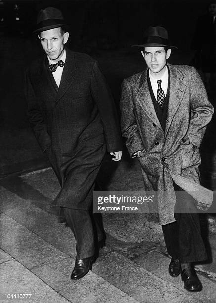 The two financier and diplomat brothers Donald and Alger HISS arriving at New York's federal court to explain their involvement with Communists In...