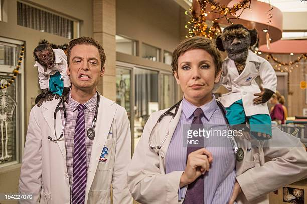 PRACTICE The Two George Colemans Episode 108 Pictured Crystal the Monkey as Dr Rizzo Justin Kirk as Dr George Coleman June Diane Raphael as Dr Jill...
