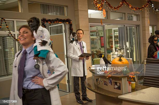 PRACTICE The Two George Colemans Episode 108 Pictured June Diane Raphael as Dr Jill Leiter Crystal the Monkey as Dr Rizzo Justin Kirk as Dr George...