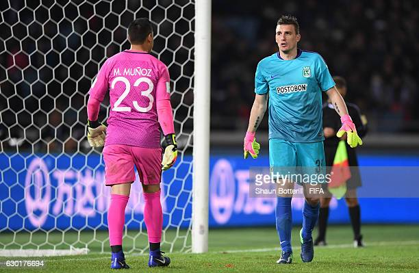 The two goalkeepers Moises Munoz of Club America and Franco Armani of Atletico Nacional prior to the penalty shoot out during the FIFA Club World Cup...