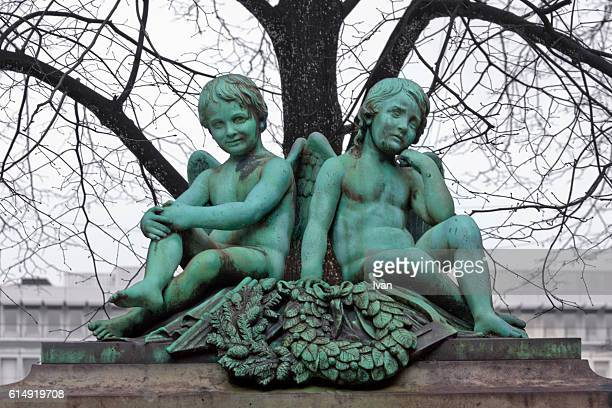 The Two Grisly, Horrible, Dark Angel Statue in Copenhagen, Demark