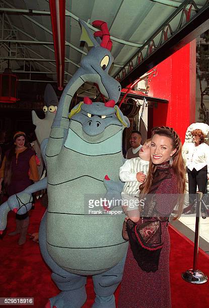 The two headed dragon 'Devon Cornwall' with Jane Seymour and one of her twins