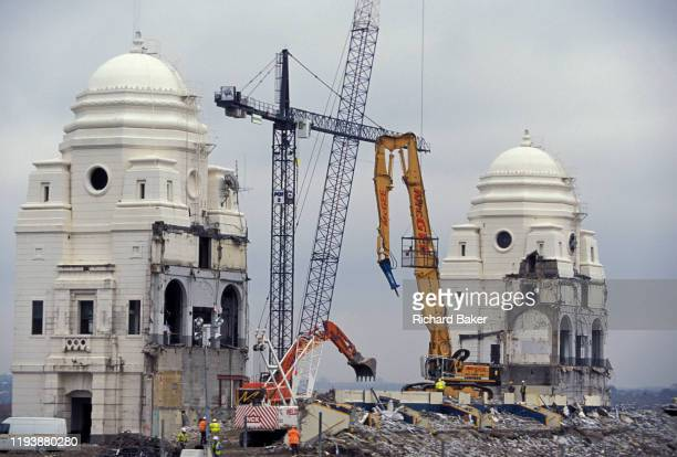 The two iconic towers of Wembley Stadium are demolished during the the large regeneration of the famous football venue and surrounding district on...