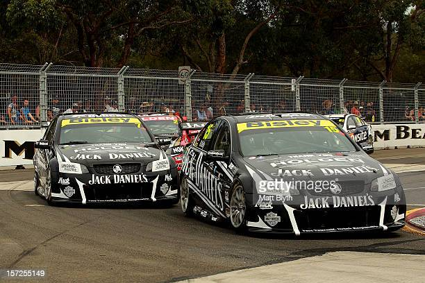 The two Jack Daniel's Racing Holden's of Rick Kelly and Tim Blanchard head into turn one during the Sydney 500 which is round 15 of the V8 Supercars...