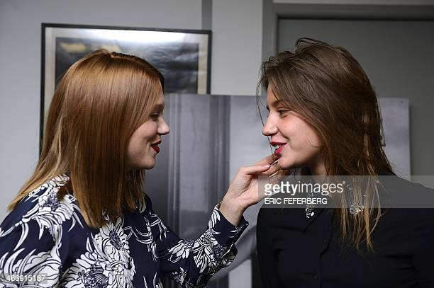 The two main actresses starring in the Cannes Palme d'Or awardwinning French film 'La Vie d'Adele' Lea Seydoux and Adele Exarchopoulos pose for...