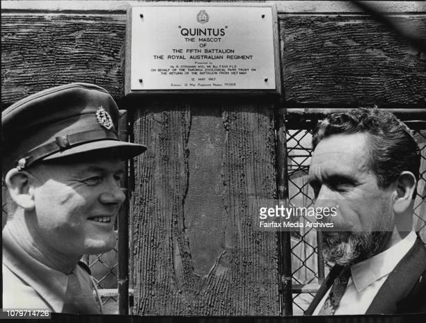 The two men with the plaque on the tiger's cageLt/Col John Warr CO of the 5th Battalion Royal Australian Regt presented a cheque for $50 to the...