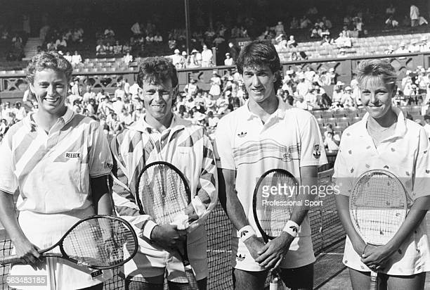 The two mixed doubles finalist partnerships pose before their match on Centre Court Jo Durie and Jeremy Bates of Great Britain Darren Cahill and...