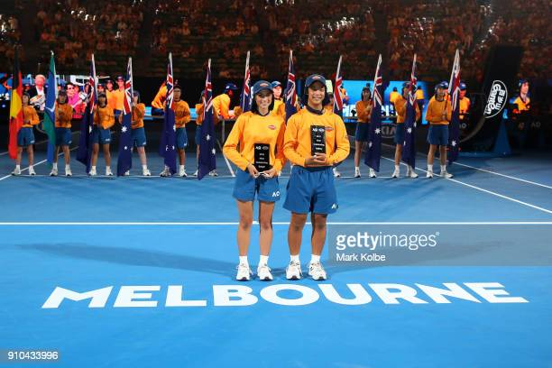 The two most outstanding ballkids of Australian Open 2018 pose for a photo with their awards in a special ceremony on day 12 of the 2018 Australian...