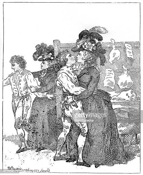 'The Two Patriotic Duchesses on their canvass requesting the favour of an early poll' 1784 Illustration from Social Caricature in the Eighteenth...