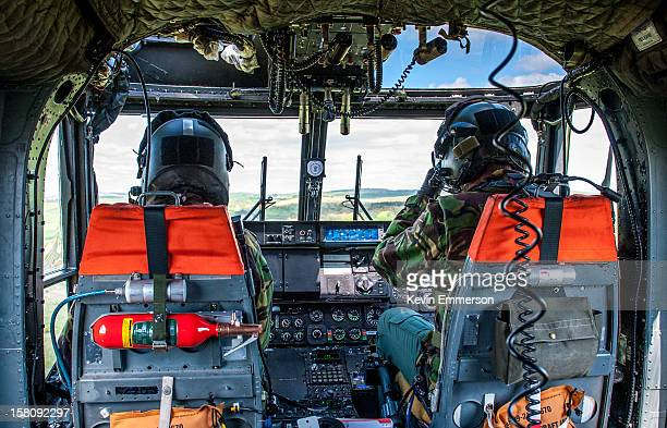 The two pilots of an Army Air Corps Lynx AH Mk 7 helicopter.