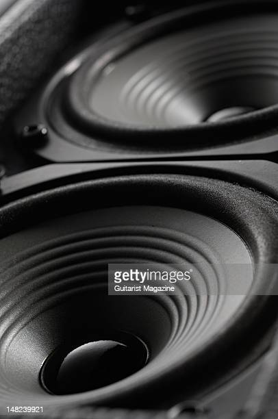 The two PJB NeoPower Type A speakers of a Phil Jones Bass Cub BG100 bass guitar amplifier during a studio shoot for Guitarist Magazine February 5 2010