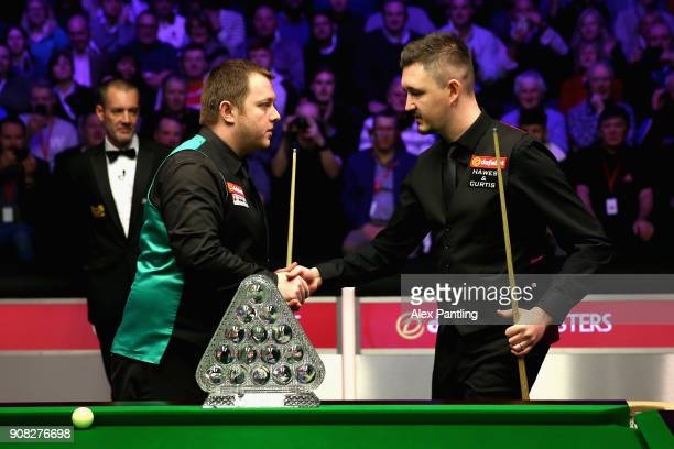 The two players shake hands prior to The Dafabet Master Final between Kyren Wilson and Mark Allen at Alexandra Palace on January 21 2018 in London...