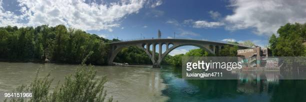 the two rivers meet at the junction - auvergne rhône alpes stock photos and pictures