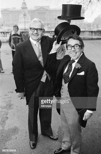 The Two Ronnies after receiving their decorations from the Queen at Buckingham Palace 7th February 1978