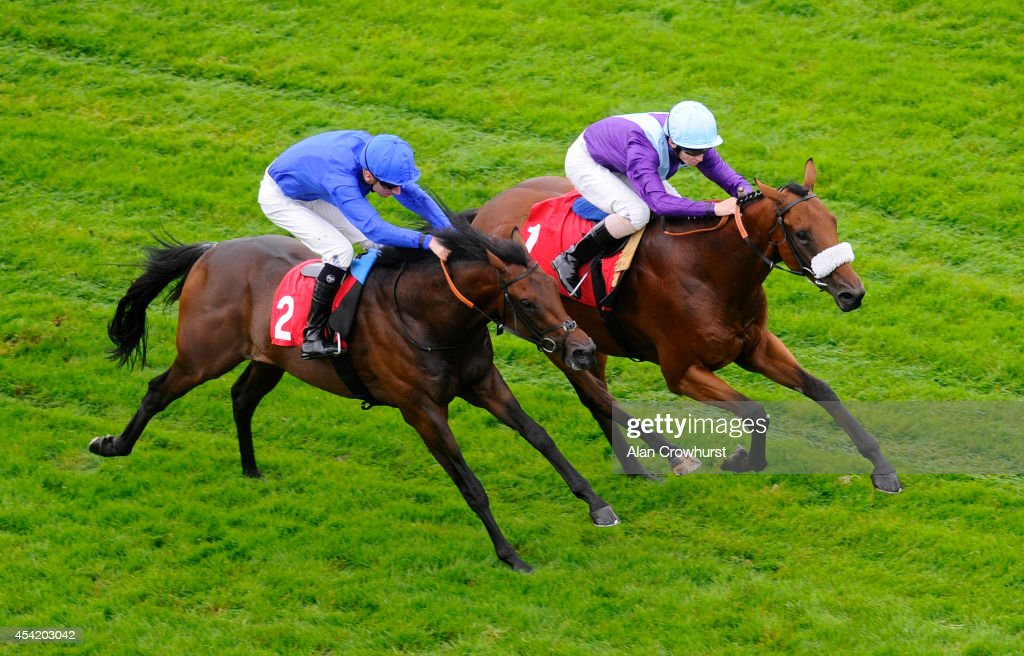 The two runners in The British Stallion Studs/totepool EBF Maiden Stakes make their way down the centre of the track before David Probert riding Dance Of Fire (R) takes victory at Epsom racecourse on August 26, 2014 in Epsom, England.