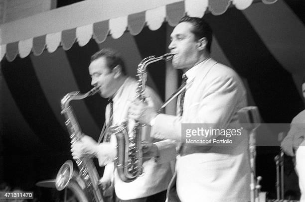 The two saxaphonists of the Carosone ensemble shot during a concert Marco Del Conte and Gianni Tozzi Rambaldi Viareggio Italia July 1958