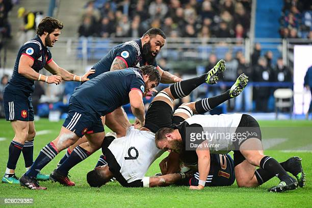 The two sides compete at a maul during the test match between France and New Zealand at Stade de France on November 26 2016 in Paris France
