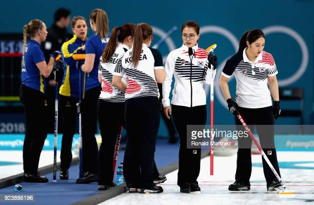 The two sides in conversation after End 2 during the Women's Gold Medal Game between Sweden and Korea on day sixteen of the PyeongChang 2018 Winter...