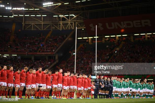 The two sides line up for the national anthems during the International Match between Wales and Ireland at the Principality Stadium on August 31 2019...
