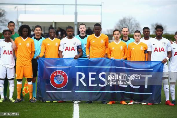 The two sides line up prior to during the UEFA Youth League group H match between Tottenham Hotspur and FC Porto at on March 13 2018 in Enfield...