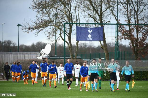 The two sides make their way out onto the pitch during the UEFA Youth League group H match between Tottenham Hotspur and FC Porto at on March 13 2018...