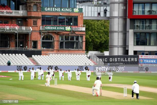 The two sides take the knee during Day One of the Ruth Strauss Foundation Test, the Third Test in the #RaiseTheBat Series match between England and...