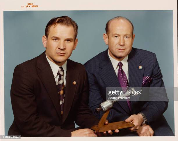 The two Soviet prime crewmen of the joint USUSSR ApolloSoyuz Test Project April 1974 They are Valeri Nikolayevich Kubasov the Flight Engineer and...