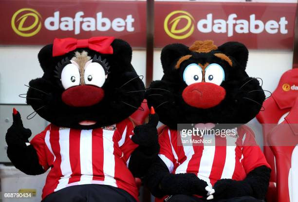 The two Sunderland mascots are seen prior to the Premier League match between Sunderland and West Ham United at Stadium of Light on April 15, 2017 in...