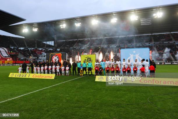 The two team players line up during the Ligue 1 match between Rennes and Marseille at Roazhon Park on January 13 2018 in Rennes France