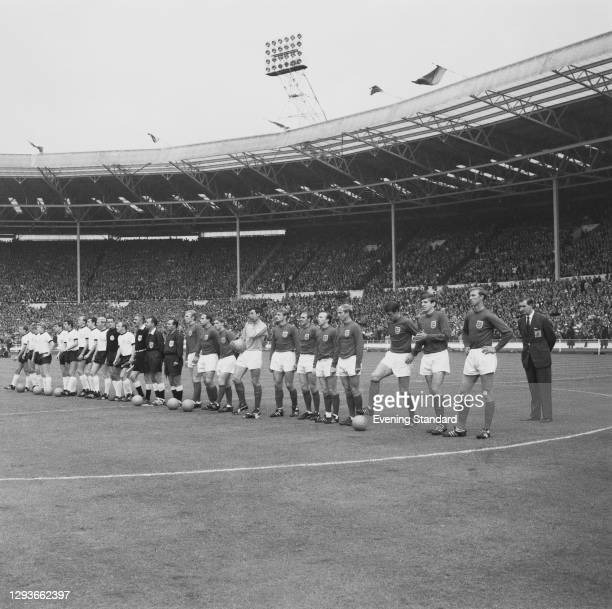 The two teams at Wembley Stadium in London during the World Cup Final between England and West Germany, UK, 30th July 1966.