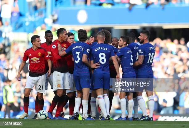 The two teams clash during the Premier League match between Chelsea FC and Manchester United at Stamford Bridge on October 20 2018 in London United...