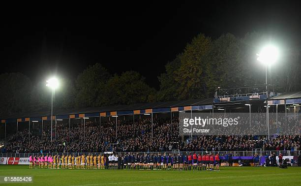 The two teams hold a minutes applause in memory of Anthony Foley before the European Rugby Challenge Cup match between Bath Rugby and Bristol at the...