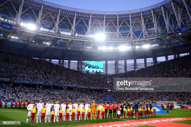 The two teams line up ahead of the 2018 FIFA World Cup Russia group D match between Argentina and Croatia at Nizhny Novgorod Stadium on June 21 2018...